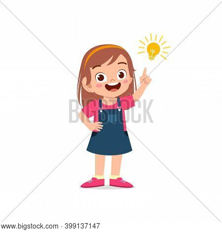 Cute Little Kid Girl Show Idea Pose Expression With Light Bulb Sign