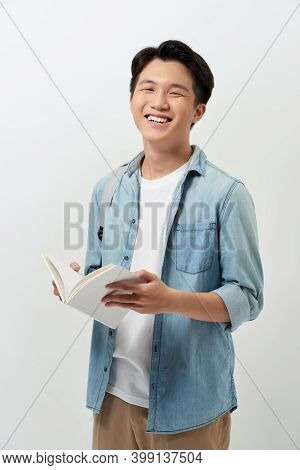 Smiling Young Man Student In Casual Clothes With Backpack Isolated On White Background Studio Portra