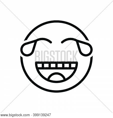 Black Line Icon For Funny Weep Cry Amusing Risible Comic Mirthful Queer Crazy Wacky Emoji Goofy Cari