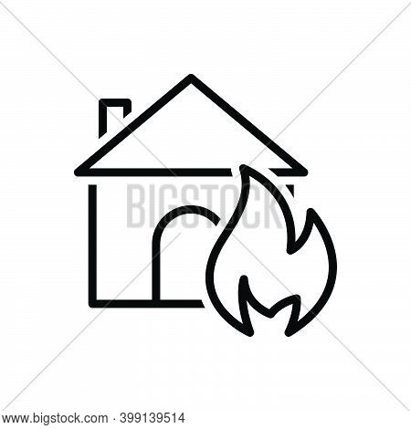 Black Line Icon For Suddenly Abruptly House Sudden Unexpected Incident Accident Burning Danger Explo