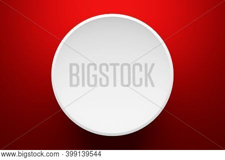 3d Illustration Of A Scene From A Circle On A Red Background. A Close-up Of A White Round  Pedestal.
