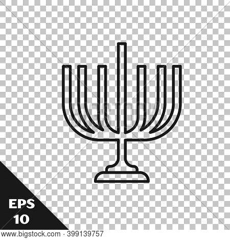 Black Line Hanukkah Menorah Icon Isolated On Transparent Background. Hanukkah Traditional Symbol. Ho
