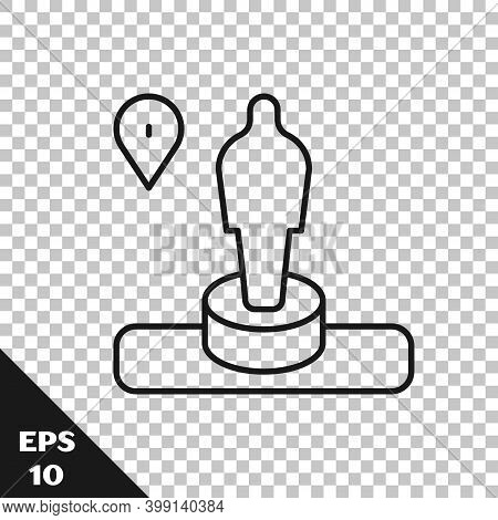 Black Line Map Pin And Monument Icon Isolated On Transparent Background. Navigation, Pointer, Locati