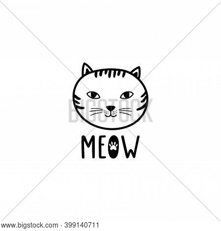 Hand Drawn Cute Cat Face With Text: Meow.