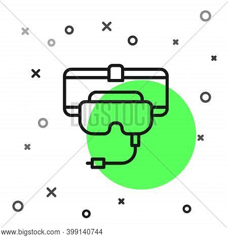 Black Line Virtual Reality Glasses Icon Isolated On White Background. Stereoscopic 3d Vr Mask. Vecto