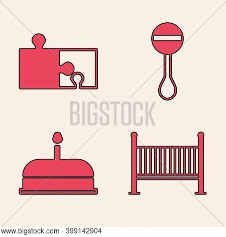 Set Baby Crib Cradle Bed, Piece Of Puzzle, Rattle Baby Toy And Cake With Burning Candles Icon. Vecto