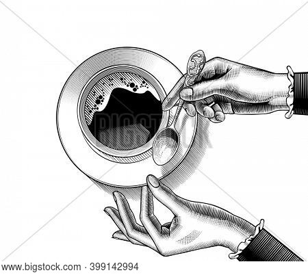 Woman's hands holding a coffee cup. Vintage stylized drawing.
