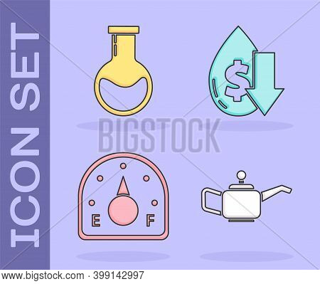 Set Canister For Motor Machine Oil, Test Tube And Flask, Motor Gas Gauge And Drop In Crude Oil Price
