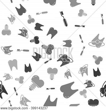Set Toothbrush, Tooth, Tooth Whitening Concept And Dental Implant On Seamless Pattern. Vector