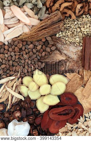 Chinese herbs for cold and flu virus remedy and prevention used in traditional herbal medicine. Used to treat fever, lung disease and coughs. Holistic health care. High in vitamin c and antioxidants.