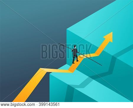 Business Risk And Professional Strategy Profit Concept - Businessman Walks Big Arrow As Tightrope Wa
