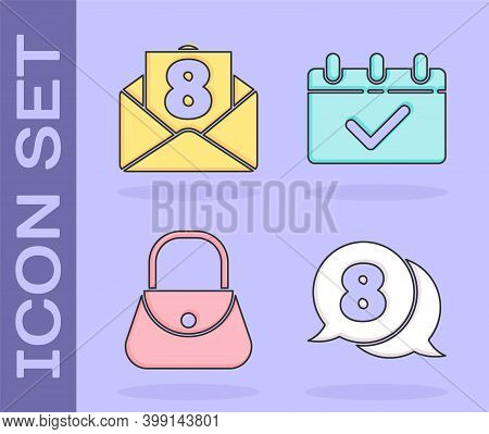 Set 8 March In Speech Bubble, Envelope With 8 March, Handbag And Calendar With 8 March Icon. Vector
