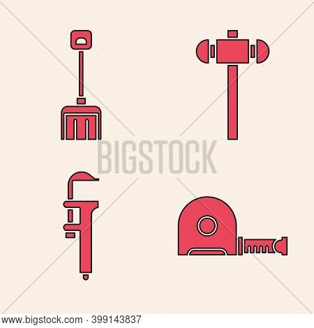 Set Roulette Construction, Snow Shovel, Sledgehammer And Calliper Or Caliper And Scale Icon. Vector