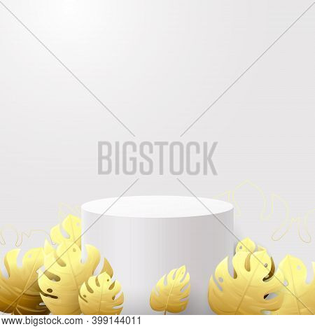 3d White Circle Podium Display And Gold Tropical Plants. Vector Illustration