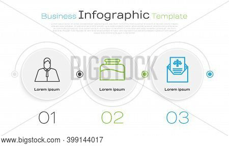 Set Line Lawyer, Attorney, Jurist, Inkwell And Subpoena. Business Infographic Template. Vector