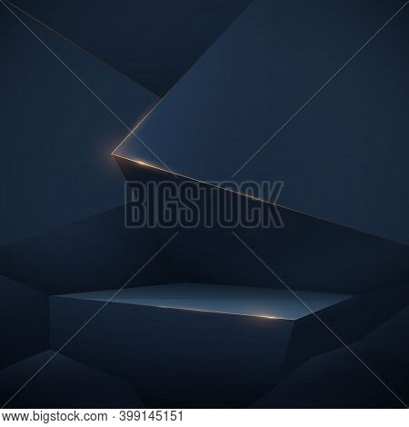 Abstract 3d Dark Blue Low Poly Podium Display And Luxury Gold Lines Sparkle. Vector Illustration