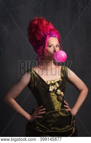 Neo Kitsch, Young Woman In Baroque Style, Costume And High Hairstyle In Historical Style And Modern