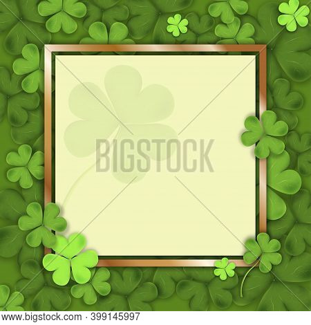 St Patrick's Day, Irish Shamrock Leaves With Golden Frame, 3d Mesh Vector Clover Leaves. Irish Symbo