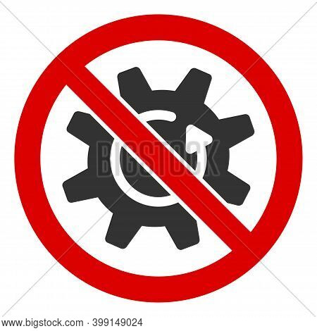 No Rotate Gear Icon. Illustration Style Is A Flat Iconic Symbol Inside Red Crossed Circle On A White
