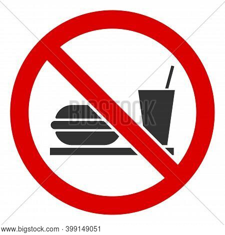 No Fastfood Icon. Illustration Style Is A Flat Iconic Symbol Inside Red Crossed Circle On A White Ba