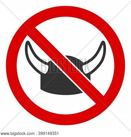 No Horned Helmet Icon. Illustration Style Is A Flat Iconic Symbol Inside Red Crossed Circle On A Whi
