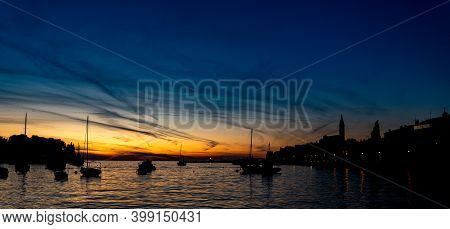 A Colorful View Of Sunset In Rovinj Croatia