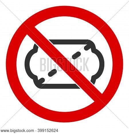 No Ticket Icon. Illustration Style Is A Flat Iconic Symbol Inside Red Crossed Circle On A White Back