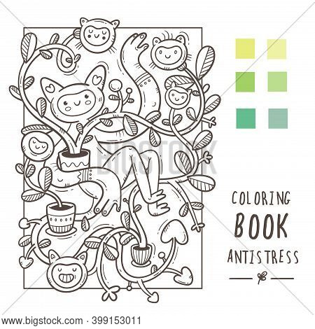 Coloring Book Antistress With Funny Cute Cartoon Creatures. Doodle Print With Monster And Trolls. Li