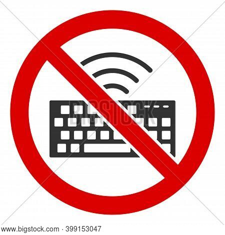 No Wireless Keyboard Icon. Illustration Style Is A Flat Iconic Symbol Inside Red Crossed Circle On A