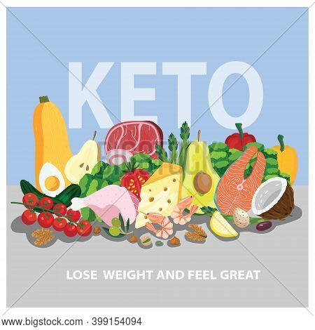 Ketogenic Products Concept For Low-carbs Diet. Composition With Healthy Food Ingredients - Zucchini,