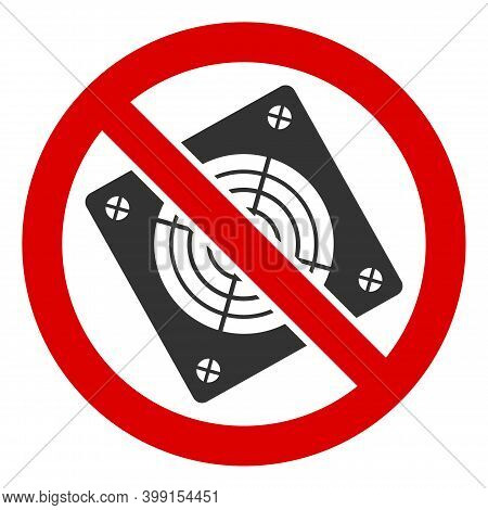No Electronic Hardware Icon. Illustration Style Is A Flat Iconic Symbol Inside Red Crossed Circle On