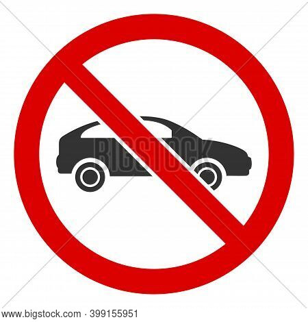 No Car Icon. Illustration Style Is A Flat Iconic Symbol Inside Red Crossed Circle On A White Backgro