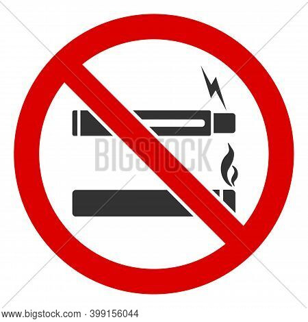 No Smoking No Vaping Icon. Illustration Style Is A Flat Iconic Symbol Inside Red Crossed Circle On A