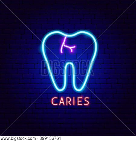 Caries Tooth Neon Label. Vector Illustration Of Stomatology Promotion.