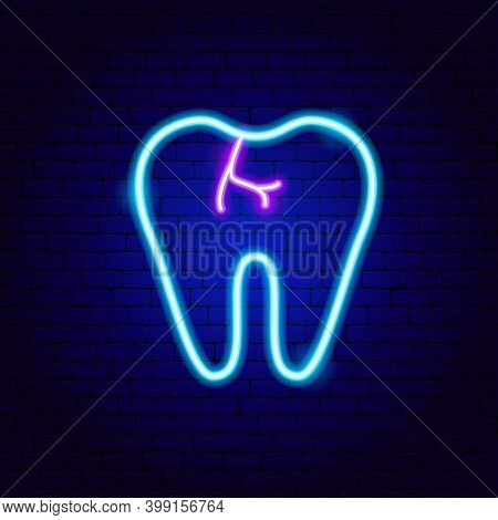 Caries Tooth Neon Sign. Vector Illustration Of Stomatology Promotion.