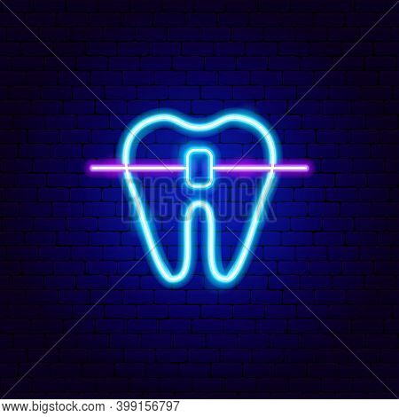 Dental Braces Tooth Neon Sign. Vector Illustration Of Stomatology Promotion.