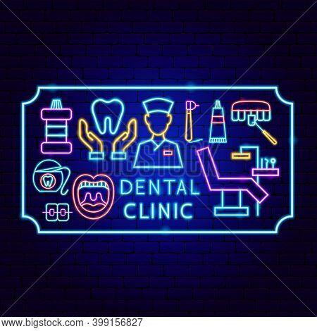 Dental Clinic Frame Neon Concept. Vector Illustration Of Stomatology Promotion.