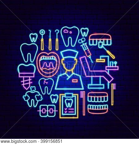 Dental Clinic Neon Concept. Vector Illustration Of Stomatology Promotion.