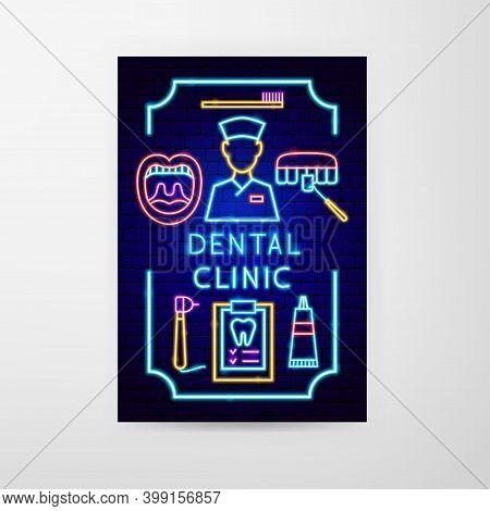 Dental Clinic Neon Flyer. Vector Illustration Of Stomatology Promotion.