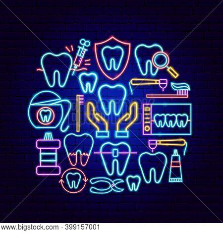 Dental Neon Concept. Vector Illustration Of Stomatology Promotion.