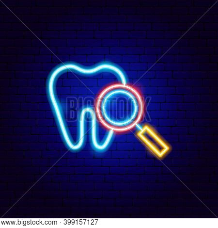 Dental Search Neon Sign. Vector Illustration Of Stomatology Promotion.