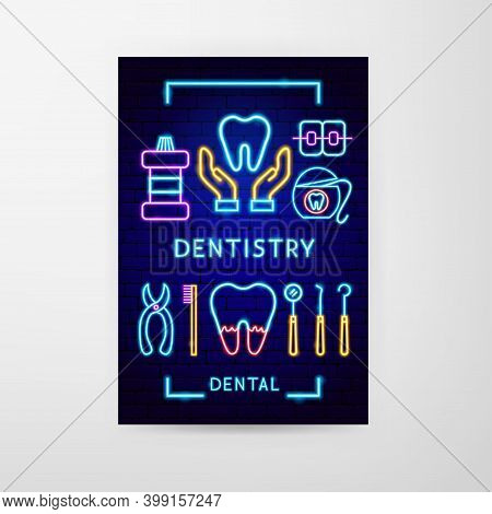 Dentistry Neon Flyer. Vector Illustration Of Stomatology Promotion.