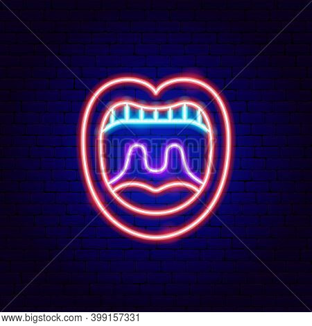 Open Mouth Neon Sign. Vector Illustration Of Stomatology Promotion.