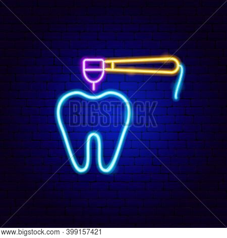Tooth Dental Drill Neon Sign. Vector Illustration Of Stomatology Promotion.