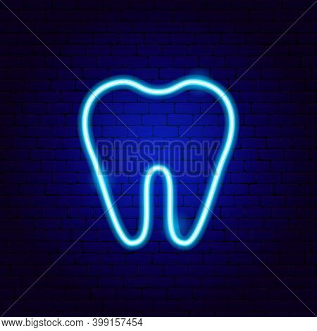 Tooth Neon Sign. Vector Illustration Of Stomatology Promotion.