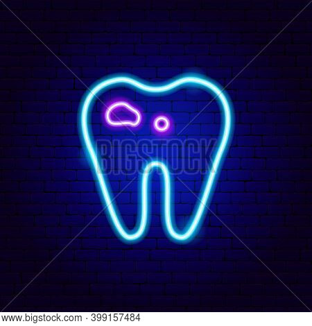 Tooth With Caries Neon Sign. Vector Illustration Of Stomatology Promotion.