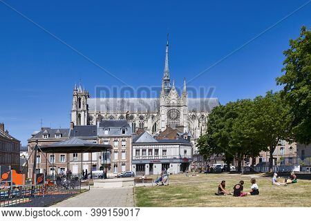 Amiens, France - May 30 2020: The Cathedral Basilica Of Our Lady Of Amiens (french: Basilique Cathéd