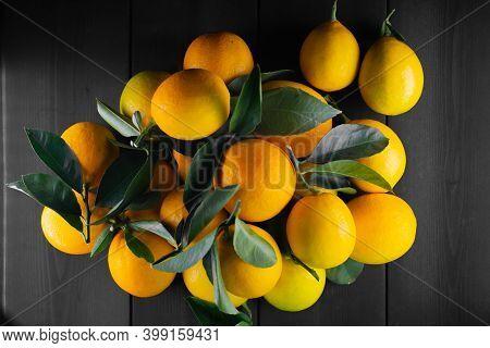 Ripe Lemons On Wooden Background.ripe Lemons On Wooden Background