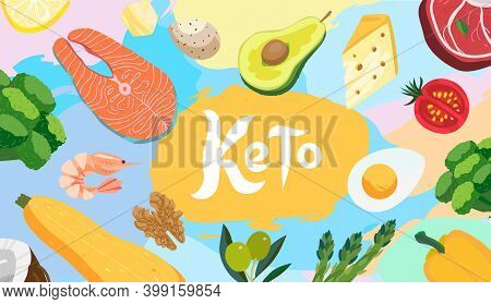 Ketogenic Diet Food Banner Illustration. Healthy Keto Food - Egg, Avocado, Broccoli, Asparagus, Orga