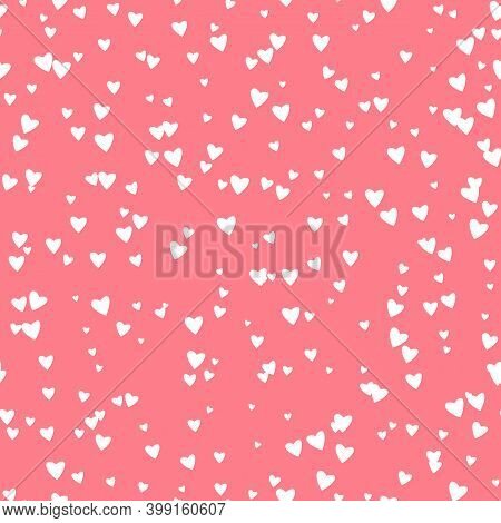 Seamless Pattern Pink Heart Continuously On Pink Vector Background. Repeating Hearts Texture For Gif